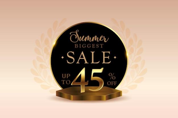 Премиум 3d летняя распродажа баннер со скидкой сорок пять 45 процентов