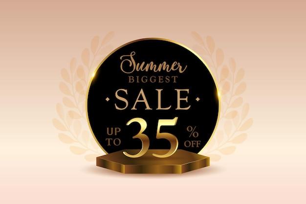 Премиум 3d летняя распродажа баннер со скидкой тридцать пять 35 процентов