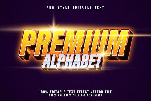 Premium alphabet editable text effect 3 dimension emboss modern neon style