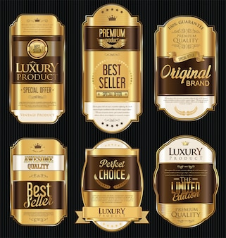 Premium and luxury golden retro badges
