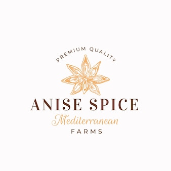 Premium anise logo template aniseed flower star sillhouette with retro typography vintage spice