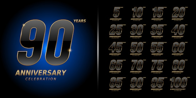 Premium anniversary celebration design set.