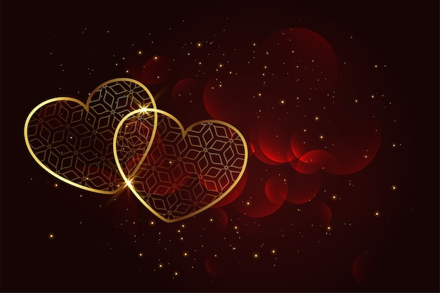 Premium artistic golden hearts background