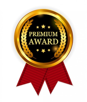Premium award gold medal with red ribbon. icon sign isolated on white.