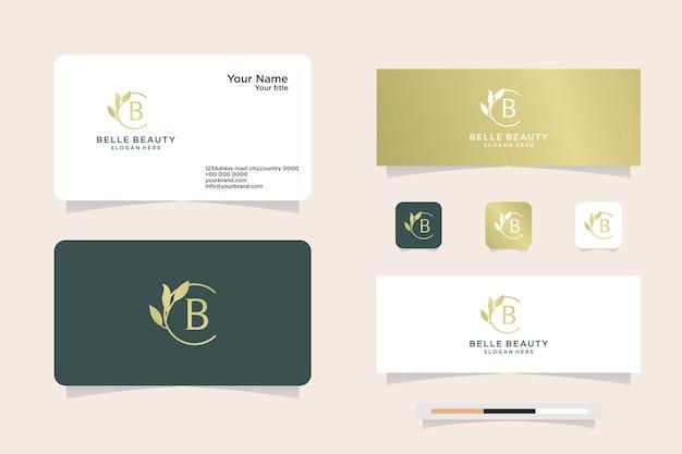 프리미엄 b 레터 모노그램 이니셜 로고 고급 잎 로고 유형, 명함 로고 및 디자인