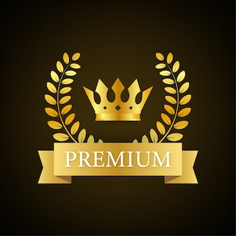 Premium badge with crown in royal style