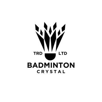 Premium badminton shuttlecock with crystal vector abstract logo