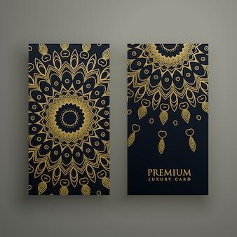 暗い曼荼羅カードまたは金色の装飾装飾を施したバナーデザイン