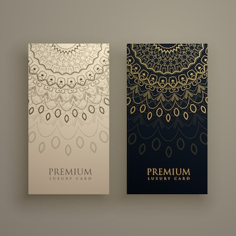 Premium banners with golden mandalas