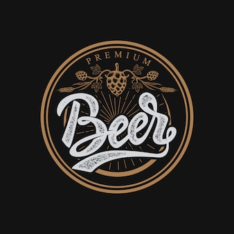 Premium beer emblem. handwritten lettering logo, label, badge.  on white background.  illustration.