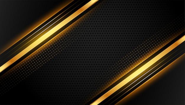 プレミアムブラックとゴールドのライン抽象