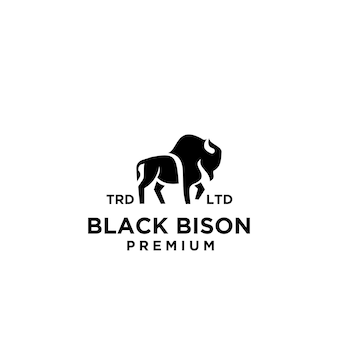 프리미엄 검은 들소 벡터 로고 아이콘 디자인 격리 된 흰색 배경