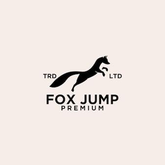 Премиум черная лиса прыжок логотип векторной иллюстрации дизайн