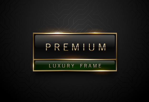 Premium black green label with golden frame on black geometric background. dark luxury logo template. vector illustration.