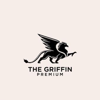 Премиум черный грифон векторный дизайн логотипа