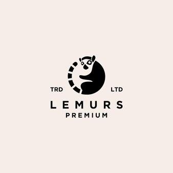 Premium black lemurs ring tail vector logo design isolated white background