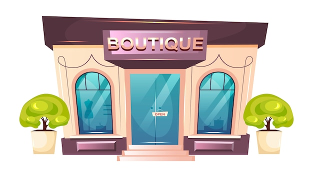 Premium boutique front cartoon illustration. modern shopfront flat color object. luxury fashion store entrance. trendy showroom storefront. shop building exterior isolated on white background