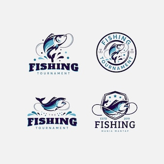 Premium bundle fish and fishing logo design template