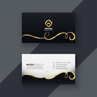 Premium business card design in dark theme