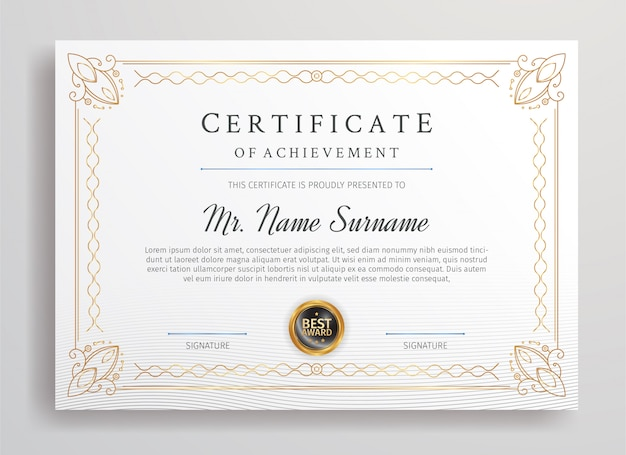 Premium certificate of appreciation border template for business printing