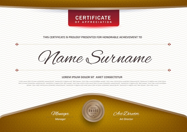 プレミアム証明書の卒業証書テンプレート