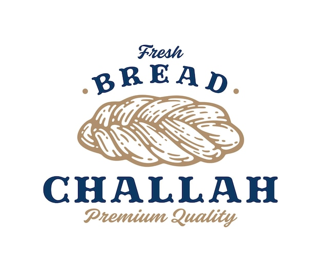 Premium challah bread in vintage label, sign, symbol or logo template. bakery