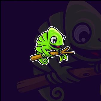 Premium chameleon logo on a branch