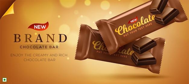 Premium chocolate ads in 3d illustration