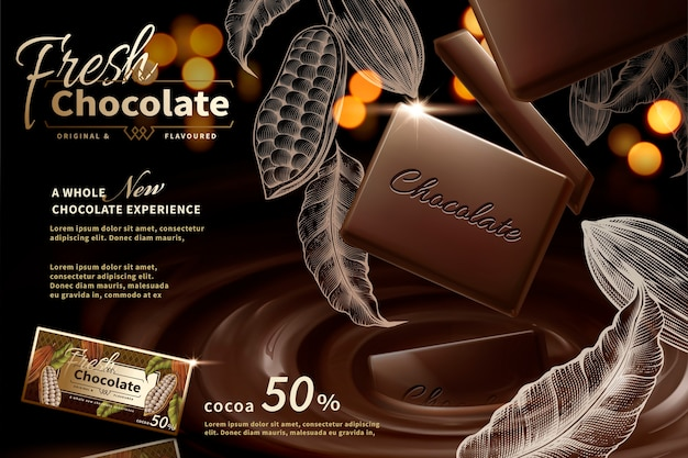 Premium chocolate ads  with engraved cacao plants elements