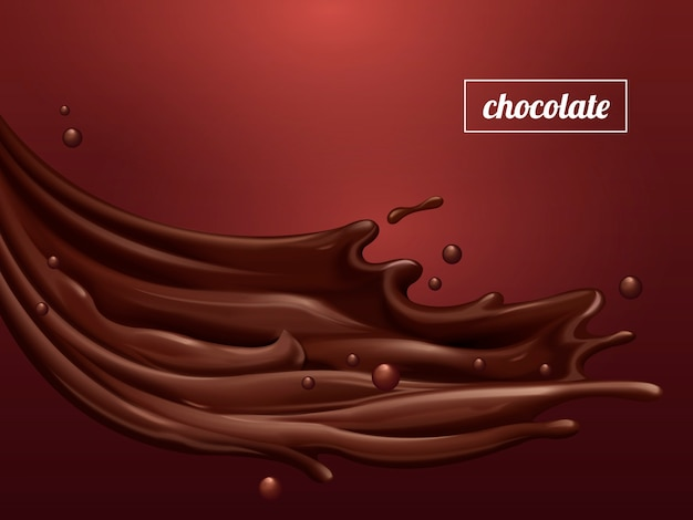 Premium chocolate sauce, flowing sweet sauce with smooth texture isolated on scarlet background,