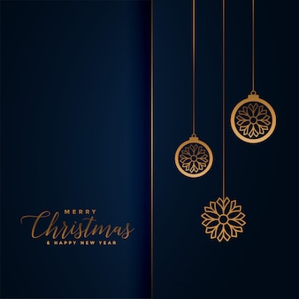 Premium christmas festival greeting in royal blue and golden