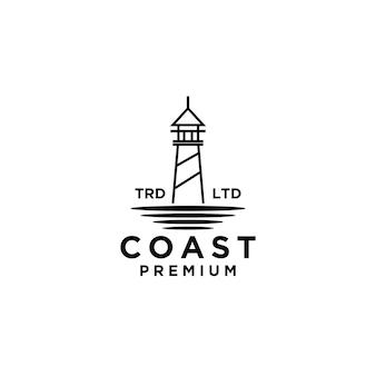 Премиум побережье с океаном вектор черный дизайн логотипа