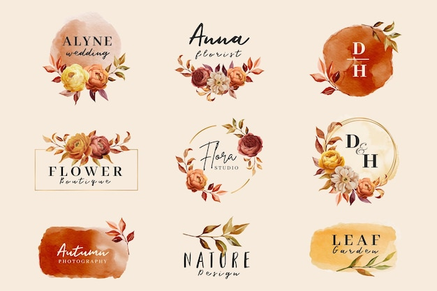 Premium collection logo template watercolor style
