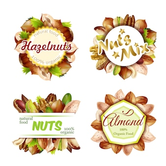 Premium colorful natural nuts labels set