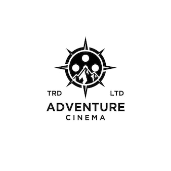Premium compass adventure film vector black logo vector design