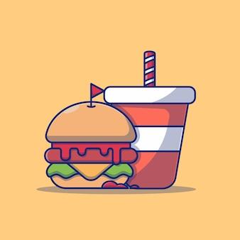 프리미엄 개념 햄버거와 탄산 음료 벡터 일러스트 레이 션 디자인