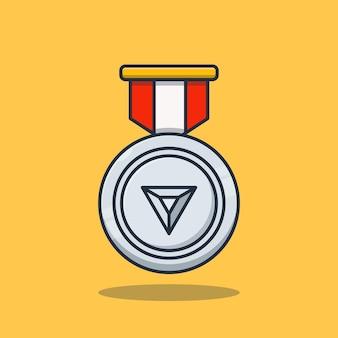 Премиум концепция серебряная медаль достижение векторные иллюстрации дизайн