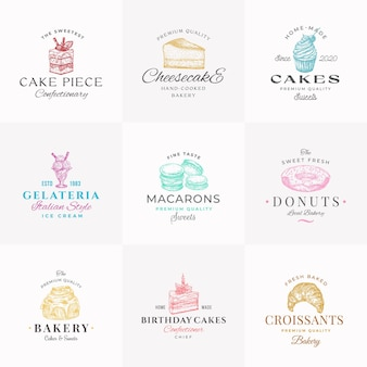 Premium confectionary abstract signs symbols or logo templates collection hand drawn ice cream donut...
