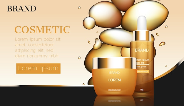 Premium cosmetic ads with gold bubbles essence