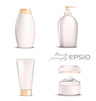 Premium cosmetics  set light pink color on white background.  illustration bottle for shampoo, packing for soap open round package with cream inside,tube for toothpaste or cosmetic