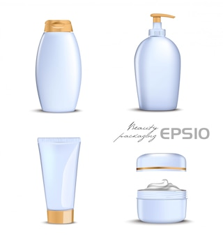 Premium cosmetics  set with gold lid on white background.  illustration bottle for shampoo, packing for soap open round package with cream inside,tube for toothpaste or cosmetic