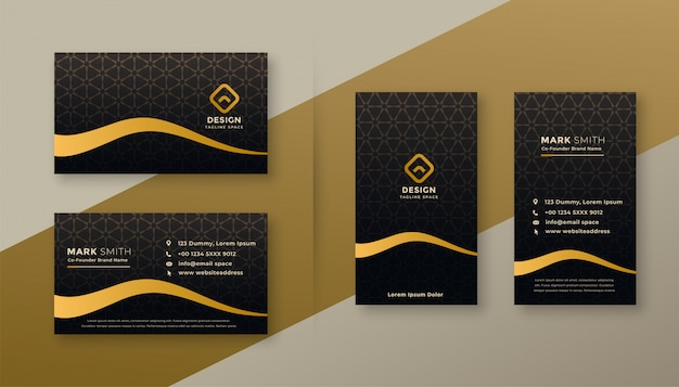 Premium dark golden business card designs set