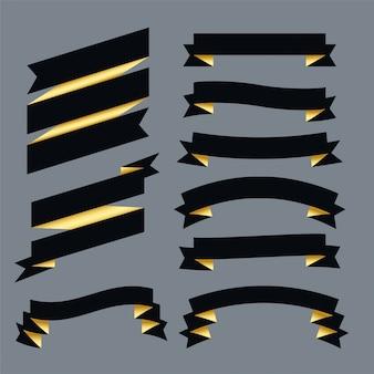 Premium dark ribbons set design