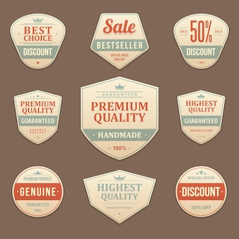 Premium discounts and vintage sales label. shabby leather faded sticker with best red promotion marketing deals. guarantee maximum quality of original with business focus emblem.