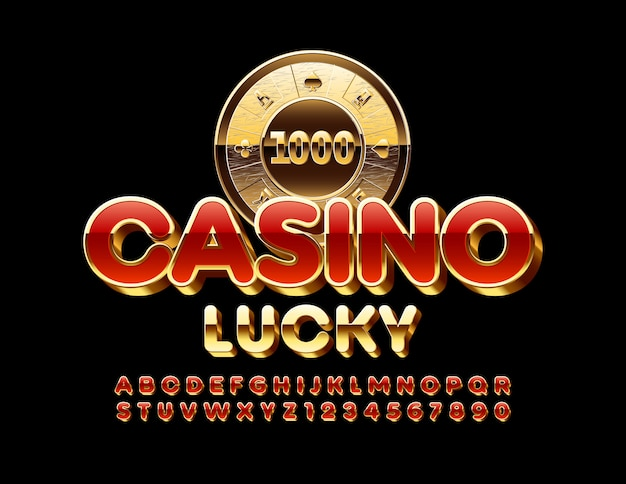 Premium emblem casino lucky.  chic modern font. luxury red and golden alphabet letters and numbers