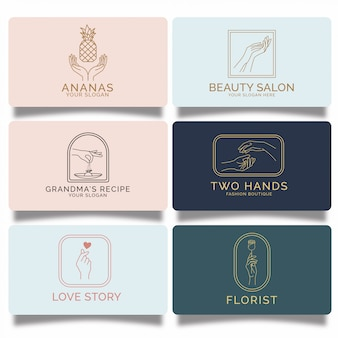 Premium feminine hand logos set