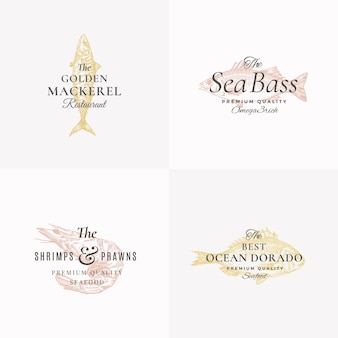 Premium fish and seafood abstract  signs, symbols or logo templates set. isolated