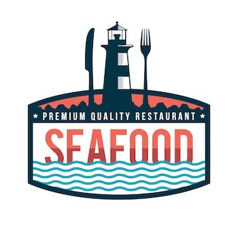 Премиум свежий ресторан морепродуктов логотип значок иллюстрация