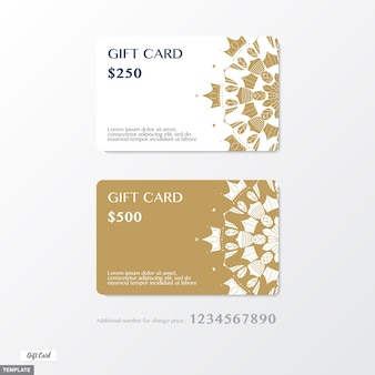 Premium gift card with ornament graphic on gold and white background with bonus number