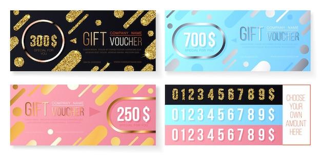 Premium gift voucher template with golden and silver glitter modern pattern